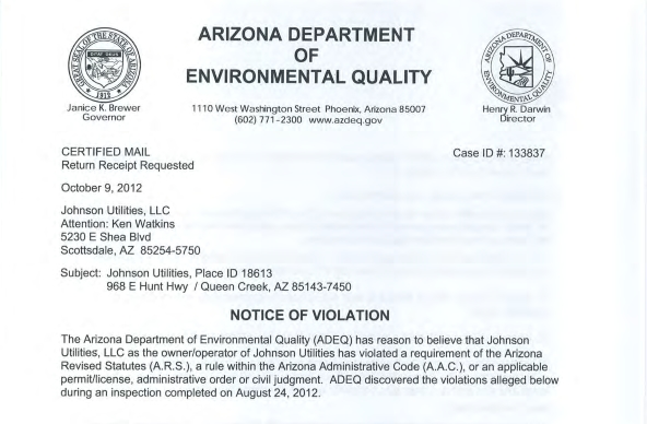 ADEQ E-Coli Violations - Johnson Utilities
