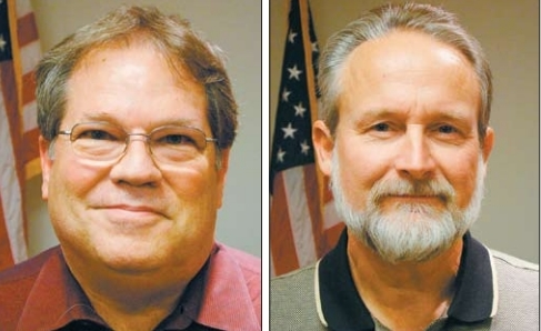 "Fire Board member Mike Weaver (left) insinuated that board member Todd House's  ""No"" vote (at right) may have been politically motivated. House is a Republican  candidate for Pinal County supervisor."