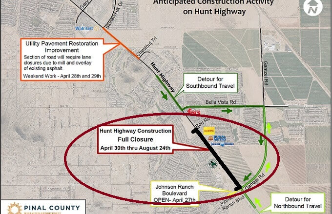 REMINDER: Hunt Hwy Closure Starts April 30