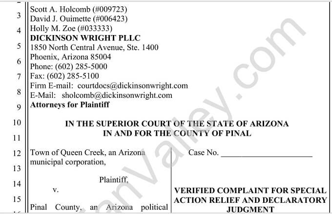What is in Queen Creek's Lawsuit?