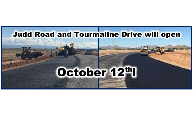 Judd & Tourmaline Roads to Open by Fri Oct 12