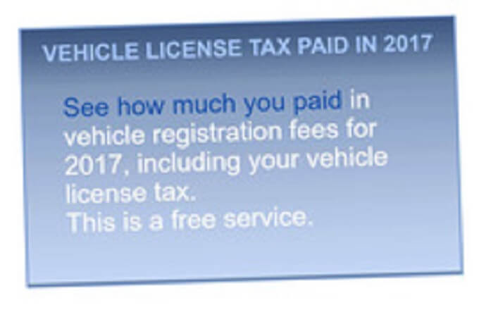 Get your 2017 vehicle tax and fees information online
